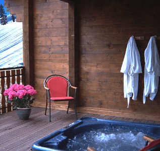 hot tub in chalet blanc of chatel