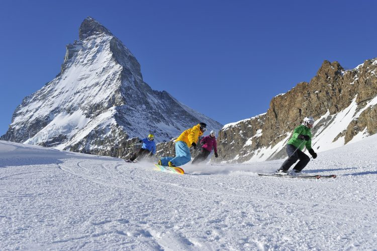 Skiing in front of the Matterhorn (Portman)