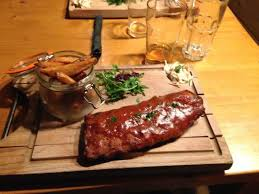 Ribs and chips platter at Le Brasero Bar and Restaurant, Tignes