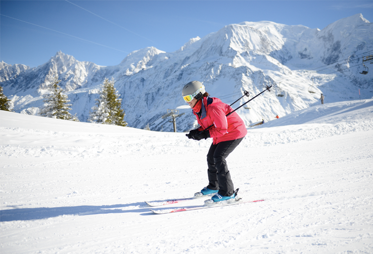 Woman skiing alone